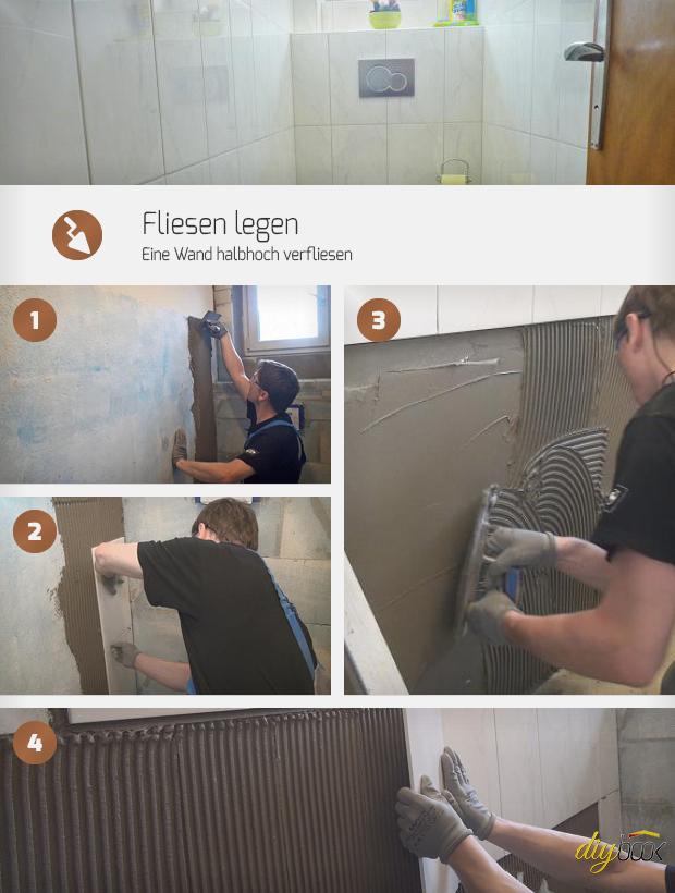 Fliesen legen - Eine Wand halbhoch verfliesen - Anleitung ...