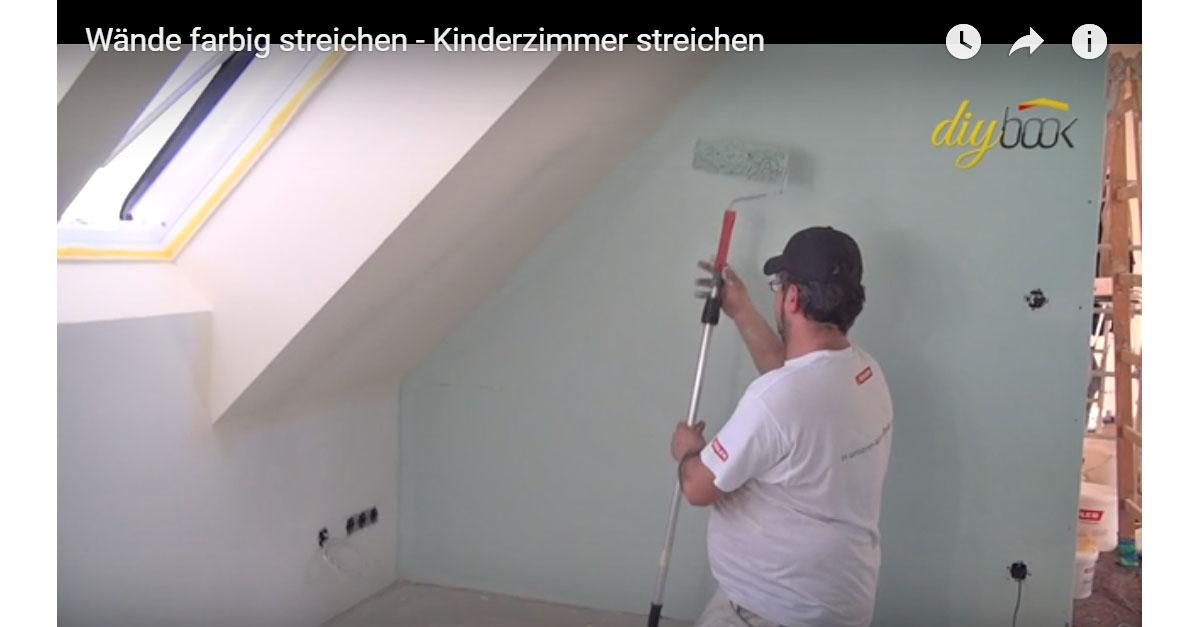 Kinderzimmer streichen w nde farbig streichen video for Farbig streichen