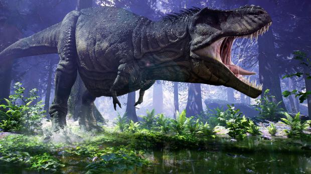 Dinosaurier stampft durch eine Wald - und Farnlandschaft
