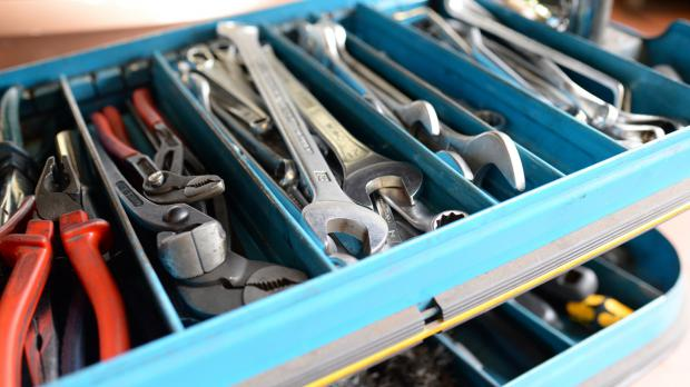 Gut gefüllter Werkzeugkoffer