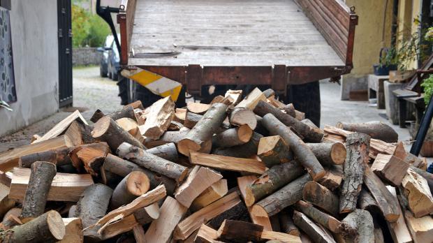 Schüttholz wird vom Laster geladen