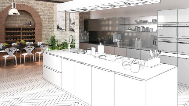 Laufwege in der Küche mit Kochinsel