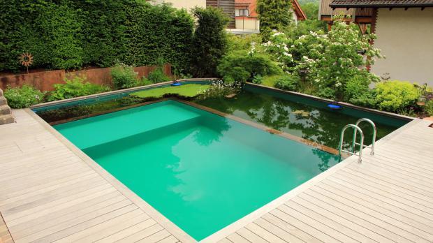 Zum Schwimmteich erweiterter Pool
