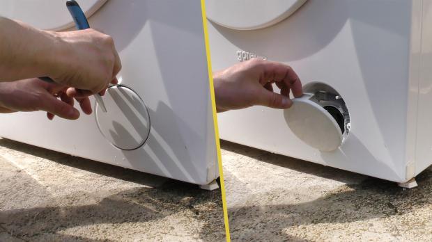 Entleerungsschlauch unter dem Flusensieb-Deckel finden