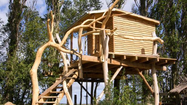 Halbfertige Baumhaus-Konstruktion