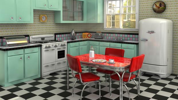 Küche im Fünfziger-Vintage-Stil