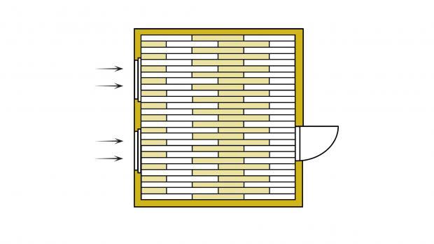 Verlegerichtung parallel zum Lichteinfall