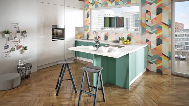 Gemütliche Küche in G-Form
