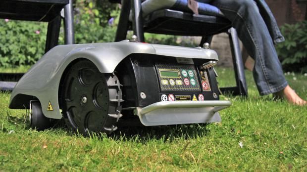 Rasenroboter übernimmt die Arbeit