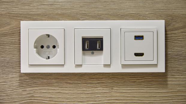 Steckdosenzeile mit USB-Steckdose