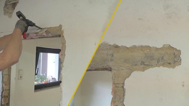 Putz abschlagen und alten Türsturz freilegen
