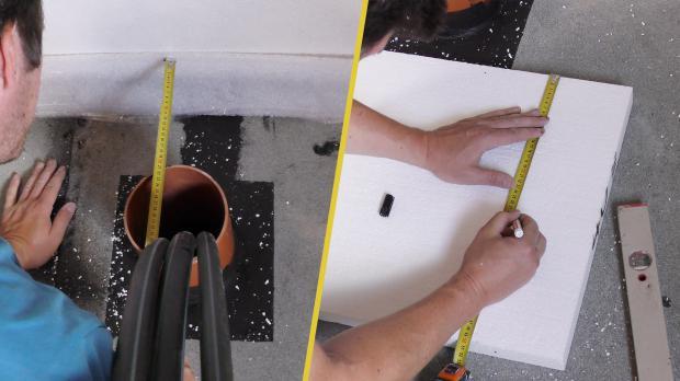 Position von Rohren auf Dämmplatten übertragen