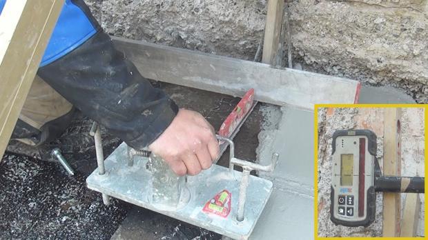 Bodenplatte nivellieren - Mörtelbett zu allen Seiten fertigstellen