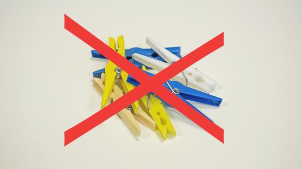 Wäscheklammern aus Plastik ungeeignet fürs Nagel halten
