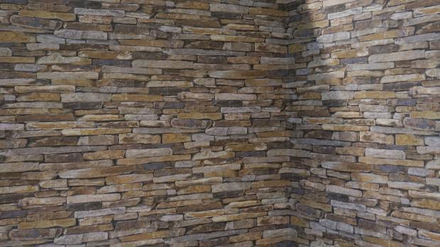 Tapezierte Wand mit Steinmuster