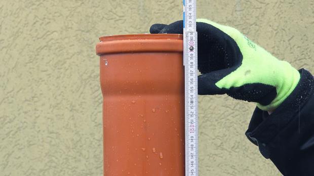 Rohr für beruhigten Zulauf ausmessen