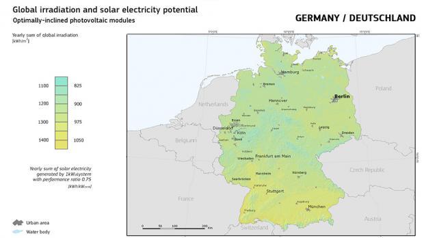 Sonneneinstrahlungskarte für Deutschland