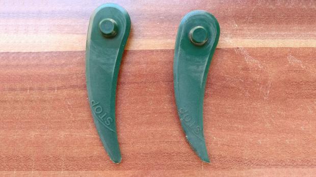 Rasentrimmer-Klingen nach dem Gebrauch