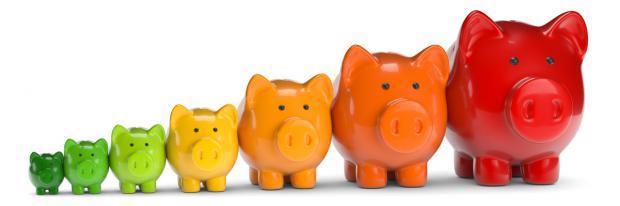 Energiebilanz aus Sparschweinen