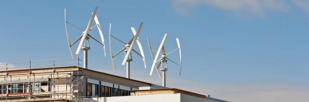 Windenergieanlagen auf Flachdach