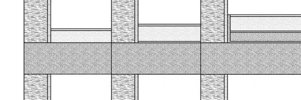 Drei der gängisgten Estrichkonstruktionen nebeneinander