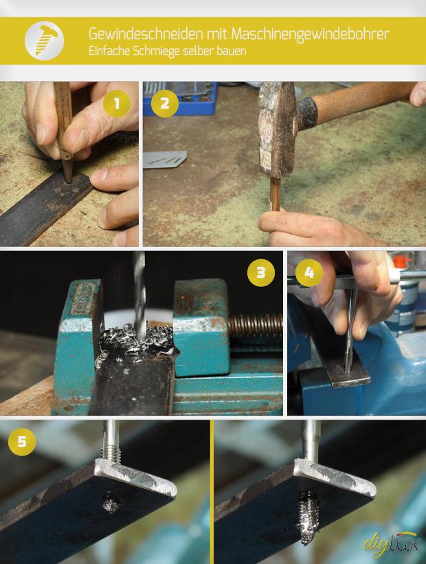 gewindeschneiden mit maschinengewindebohrer einfache schmiege selber bauen anleitung. Black Bedroom Furniture Sets. Home Design Ideas